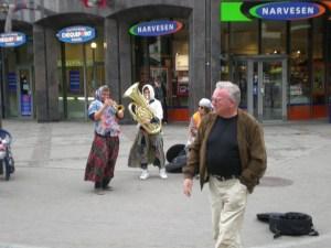 Rigan musicians dressed like Babushkas (grandma) in Riga