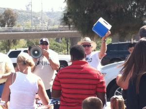 Pest Control Operators, workers, friends and family at tailgate party
